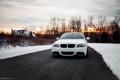 Картинка зима, снег, закат, бмв, BMW, белая, 3 series