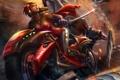 Картинка девушка, скорость, меч, арт, мотоцикл