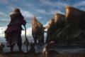 Картинка море, собаки, облака, замок, посох, Путешественник