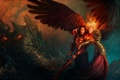 Картинка девушка, скалы, огонь, крылья, меч, мужчина, Might & Magic Heroes 6
