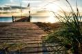 Картинка море, трава, пейзаж, закат, мост