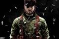 Картинка темный фон, арт, повязка, мужчина, амуниция, Metal Gear Solid, Naked Snake