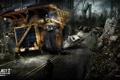 Картинка город, апокалипсис, люди, пустош, трактор