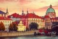 Картинка закат, река, дома, вечер, причал, Прага, Чехия