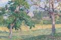Картинка поле, деревья, дом, картина, Анри Лебаск, Деревенский пейзаж
