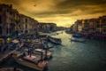 Картинка корабль, дома, вечер, Италия, Венеция, канал