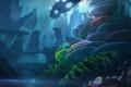 Картинка свет, скалы, транспорт, корабль, кораллы, арт, под водой