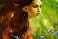 Картинка девушка, глаза, красочно, лицо, рыбы