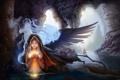 Картинка цветок, вода, девушка, магия, крылья, дух, арт