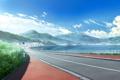 Картинка дорога, лето, облака, пейзаж, горы