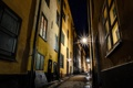 Картинка ночь, улица, фонари, Стокгольм, Швеция, старый город