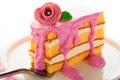Картинка цветок, тарелка, пирожное, крем, десерт, лопаточка