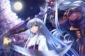 Картинка небо, девушка, ночь, оружие, луна, меч, аниме