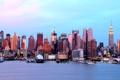 Картинка небо, небоскреб, дома, Нью-Йорк, панорама, США, Манхэттен