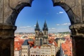 Картинка небо, облака, дома, Прага, Чехия, панорама