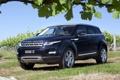 Картинка листья, синий, Land Rover, кусты, range rover, передок, кроссовер