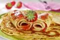 Картинка еда, клубника, блины, выпечка, сладкое, трубочки, варенье