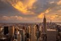 Картинка закат, город, небоскребы, Manhattan