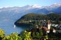 Картинка горы, город, озеро, фото, дома, Швейцария, Spiez