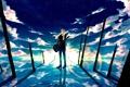 Картинка небо, вода, солнце, облака, отражение, гитара, аниме