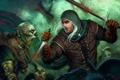 Картинка оружие, кровь, меч, арт, монстры, кинжал, мужчина