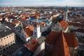 Картинка крыша, небо, дома, Германия, Мюнхен, панорама, старая ратуша