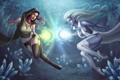 Картинка магия, Девушки, кристаллы, схватка