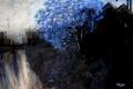 Картинка пейзаж, дерево, картина, синее, маслом