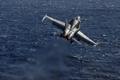 Картинка истребитель, палубный, F-18, море, Super Hornet