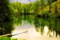 Картинка лес, деревья, горы, озеро, мостик