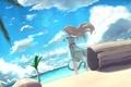 Картинка песок, море, пляж, пальмы, чайка, девочка, бревно
