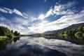 Картинка реки, река, солнце, норвегия, вода, Norway, деревья