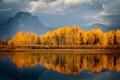 Картинка осень, деревья, горы, природа, озеро, отражение