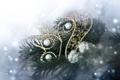 Картинка снег, ёлка, ёлочные украшения