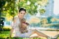 Картинка азиатка, мишка, девушка, лето