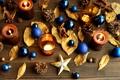 Картинка листья, звезды, шарики, игрушки, палочки, свечи, Новый Год