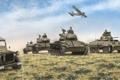 Картинка поле, небо, арт, джип, самолёт, танки, войска