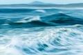 Картинка море, волны, небо, горы, hdr