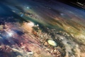 Картинка высота, круги, корабли, города, планета