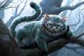 Картинка полоски, ночь, улыбка, дерево, ветка, Чеширский кот, светятся
