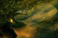 Картинка лес, свет, деревья, фэнтези, арт