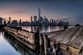 Картинка ночь, город, New York City, Hudson River