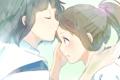 Картинка девушка, поцелуй, аниме, слезы, арт, парень, Хаяо Миядзаки