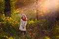Картинка осень, лес, лист, смех, девочка