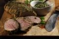 Картинка зелень, фон, нож, доска, запеченное мясо, приправа
