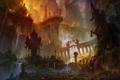 Картинка город, люди, огонь, война, разрушение, храм