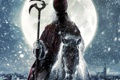Картинка снег, луна, Дед отмороз