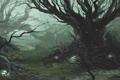 Картинка лес, дерево, грибы, чаща, фэнтези, арт
