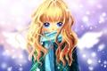 Картинка снег, шарф, арт, девочка, сердечко