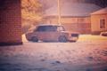 Картинка зима, машина, авто, снег, копейка, диски, классика